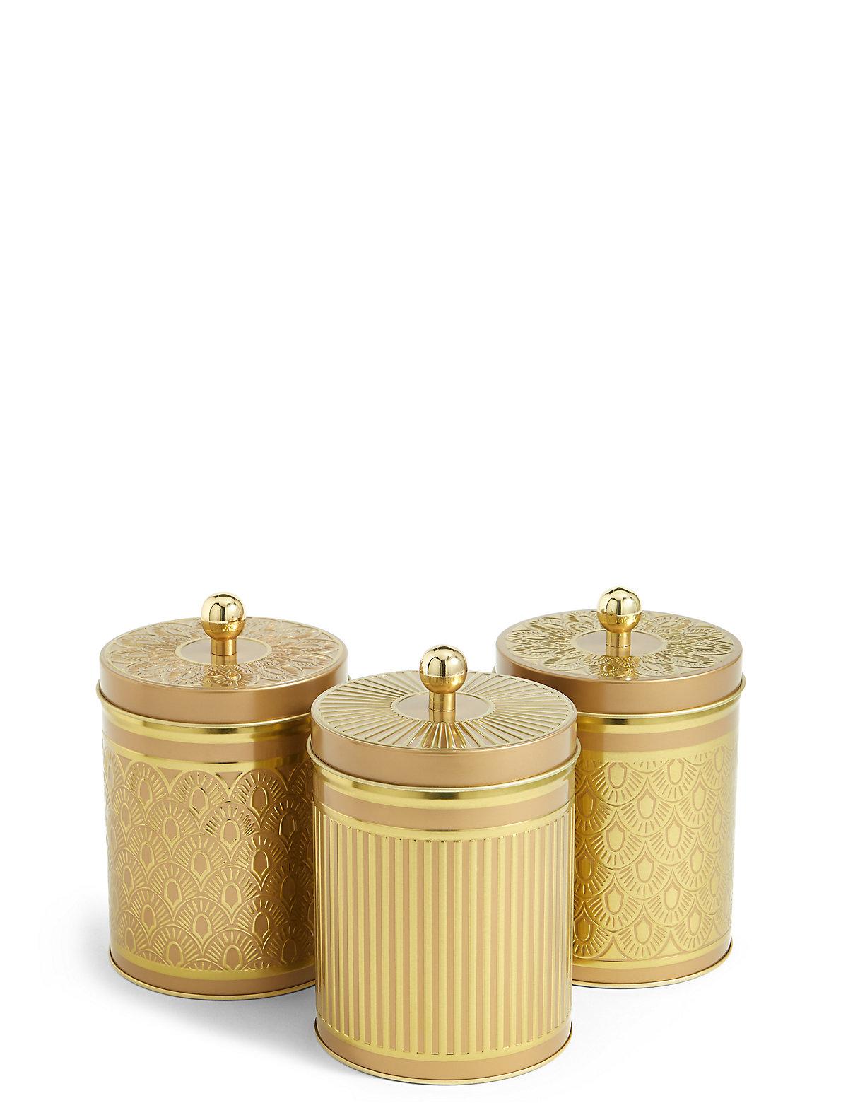 3 Pack Tea Coffee & Sugar Tins