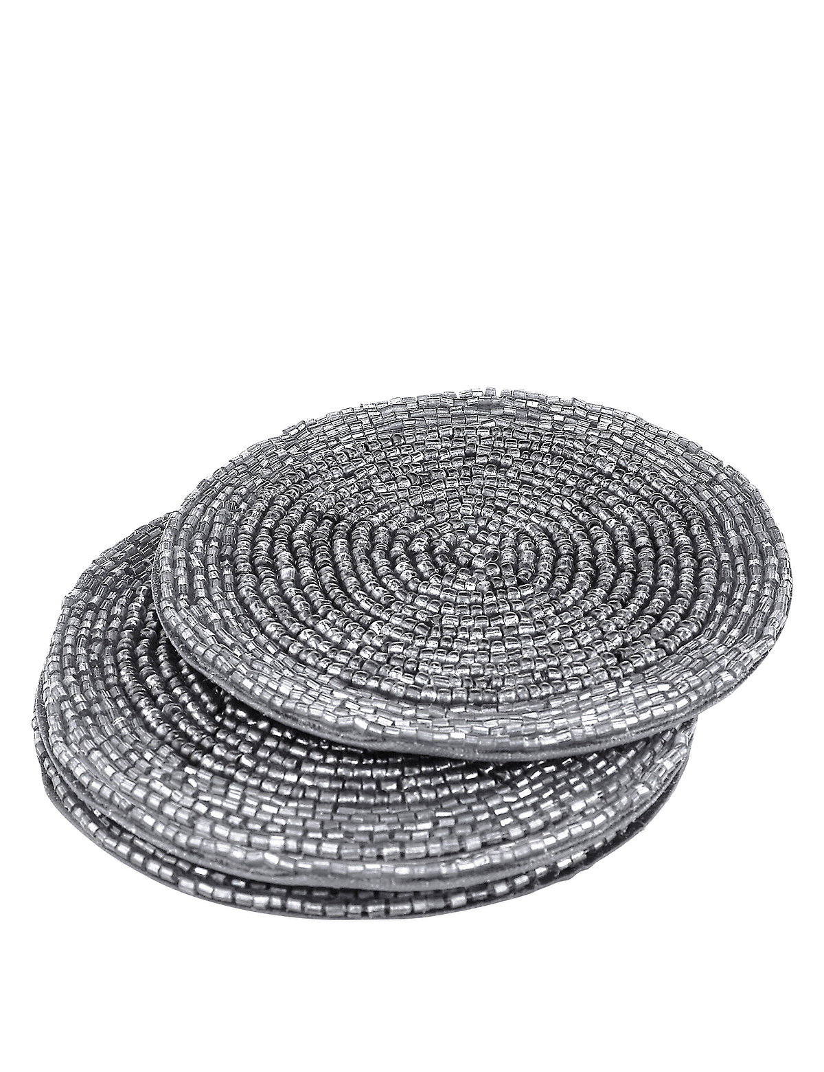 4 Pack Round Beaded Coaster Grey