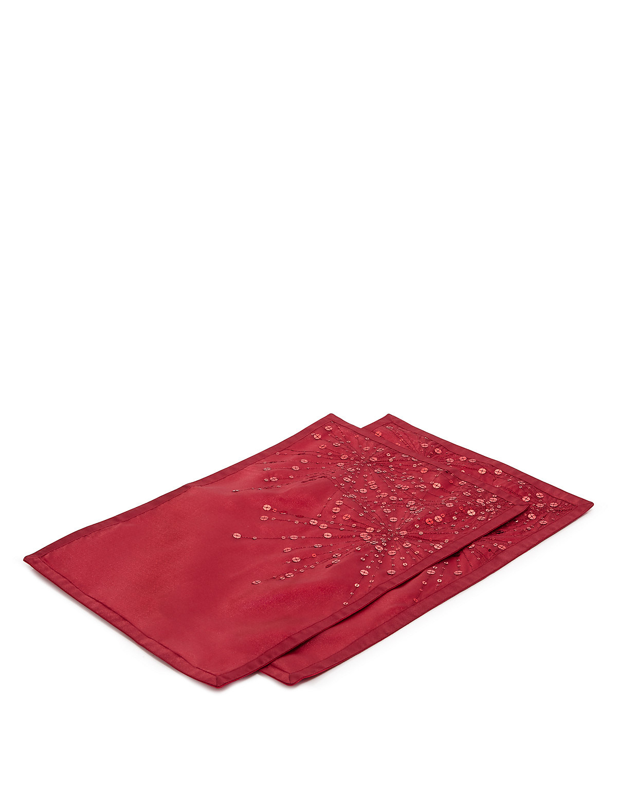 2 Sequin Embellished Embroidered Placemats Red