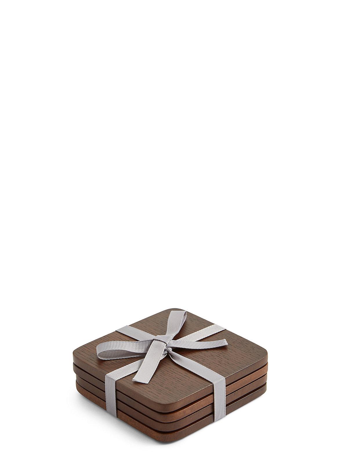 4 Pack Wood Veneer Coasters