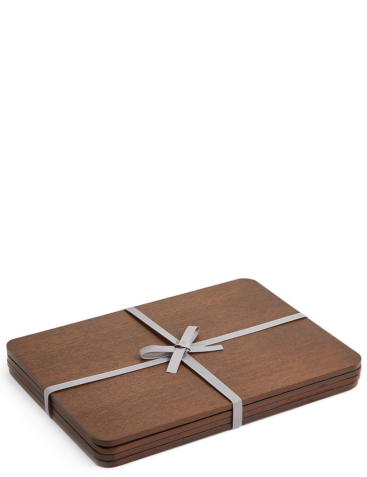 4 Pack Wood Veneer Placemat