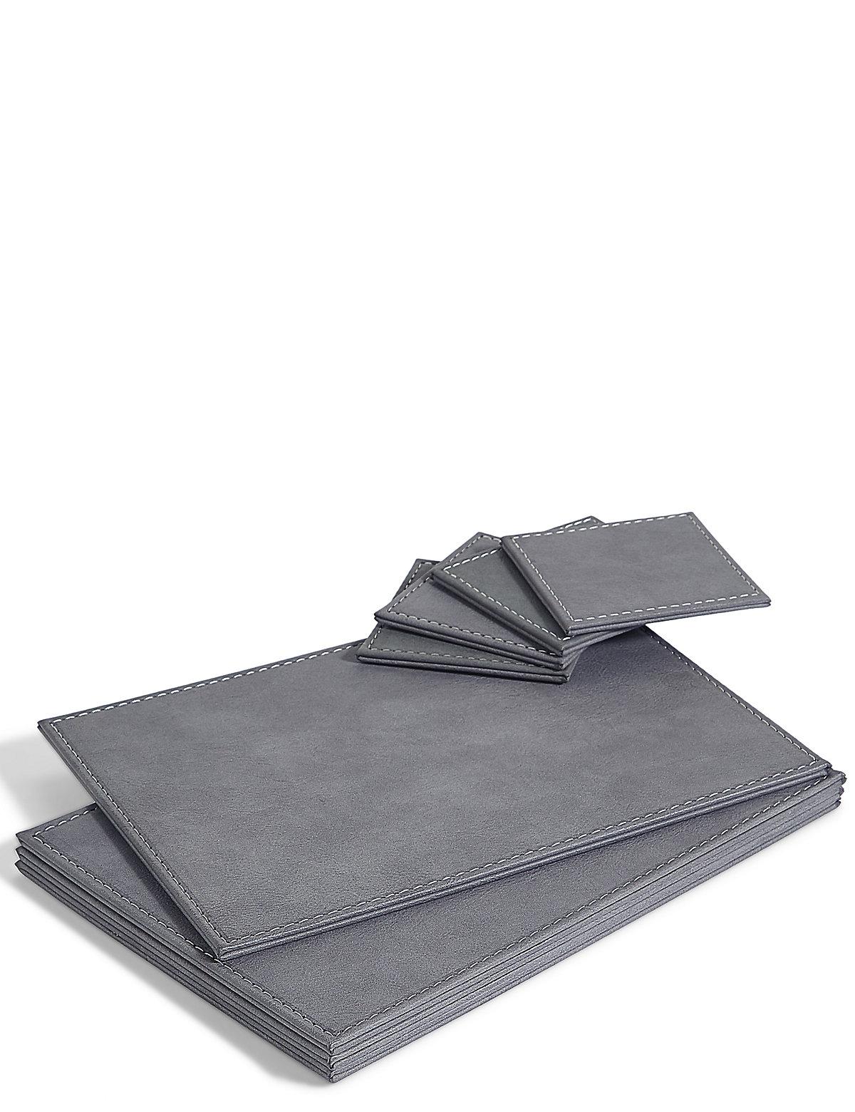 Faux Leather Placemat & Coaster Set