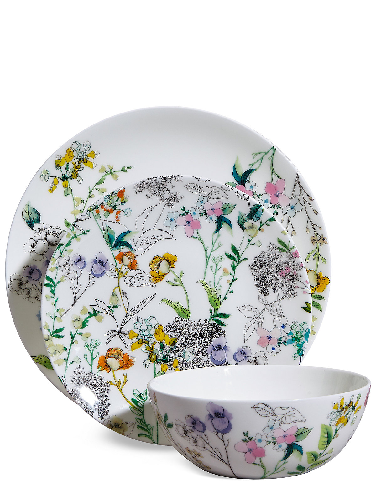 Image of 12 Piece Spring Blooms Dinner Set