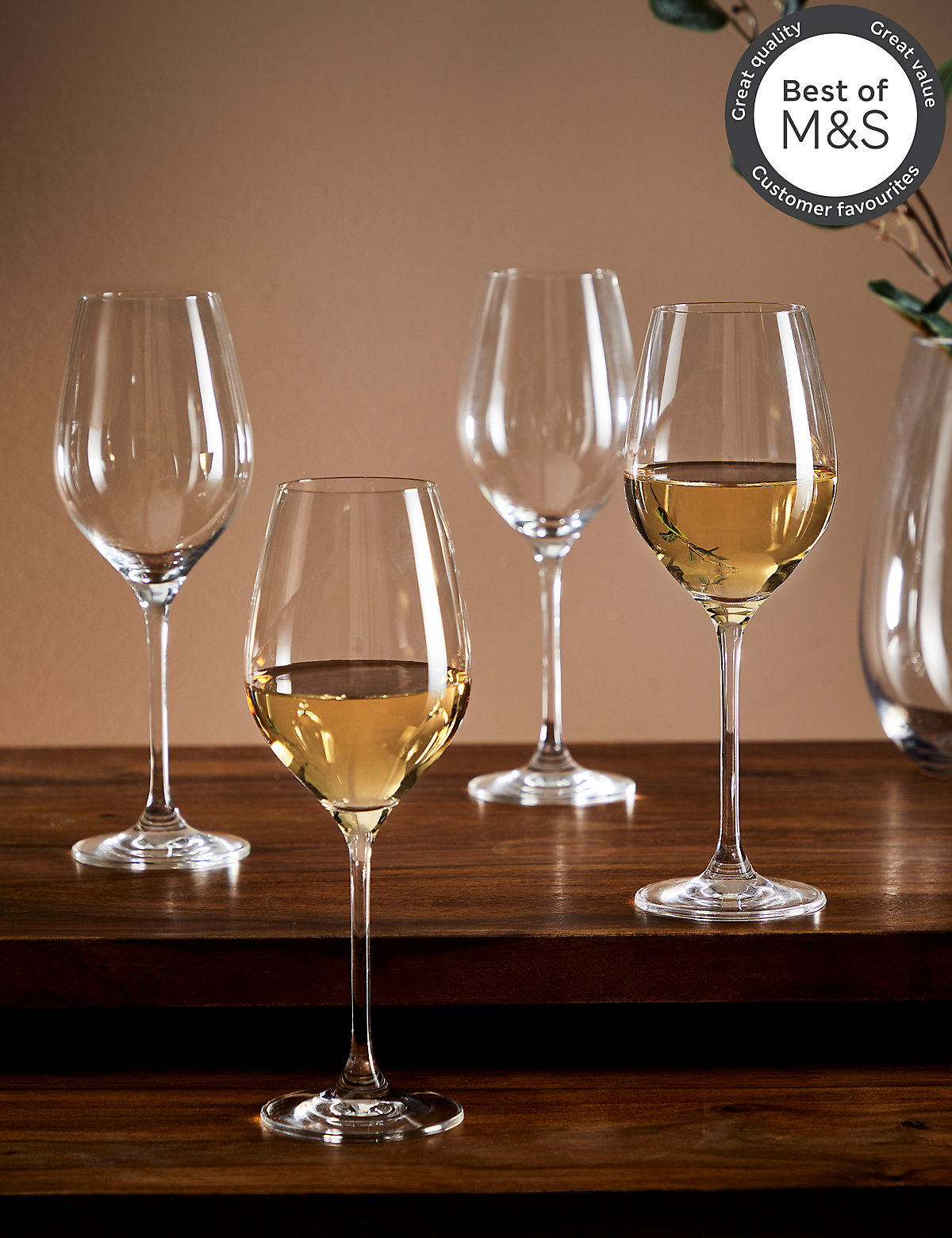 4 maxim white wine glasses for Thin stem wine glasses