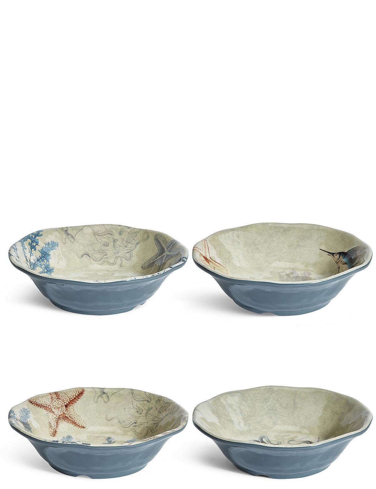 Set Of 4 Nautical Melamine Cereal Bowls