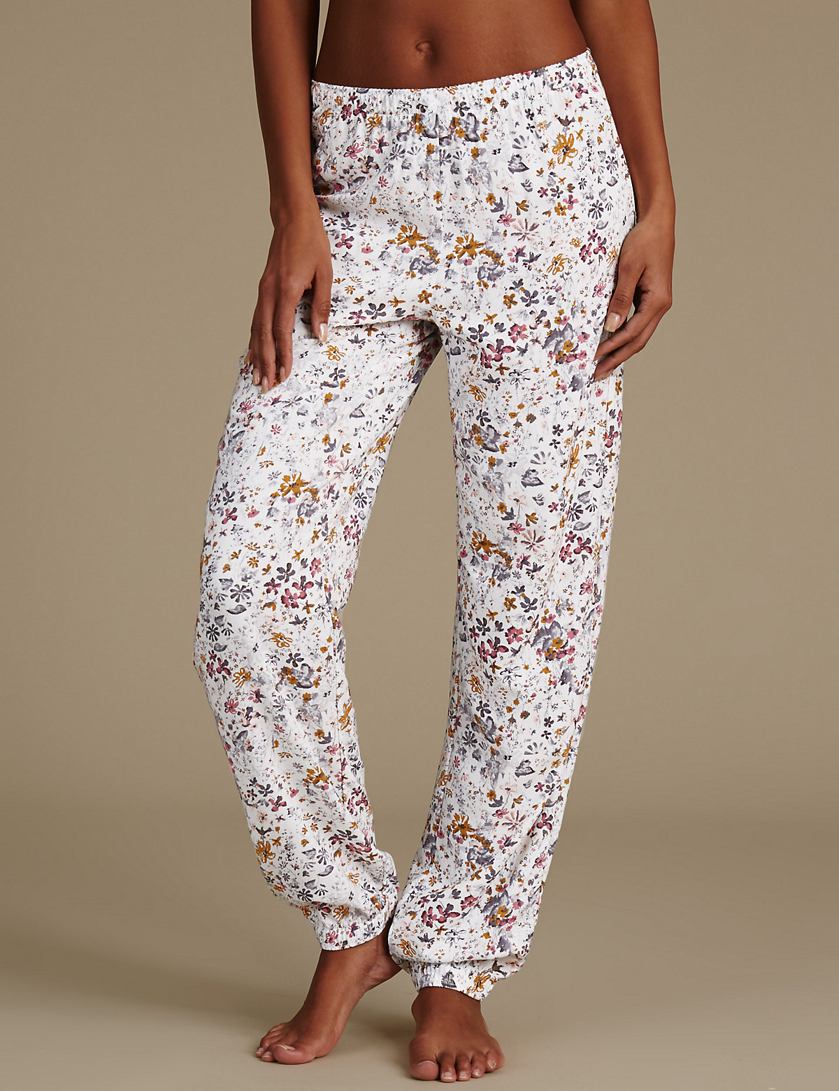 M&S Collection Floral Print Cuffed Hem Pyjama Bottoms