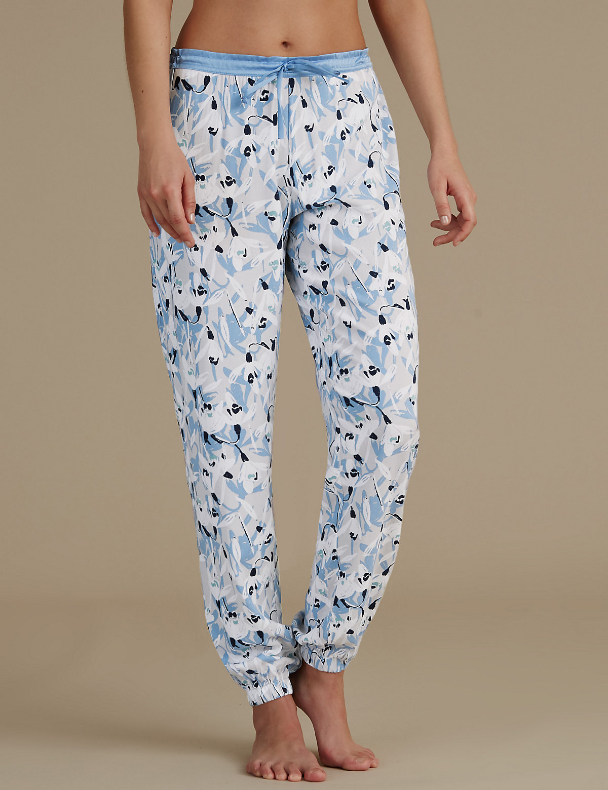M&S Collection Floral Print Cuffed Pyjama Bottoms