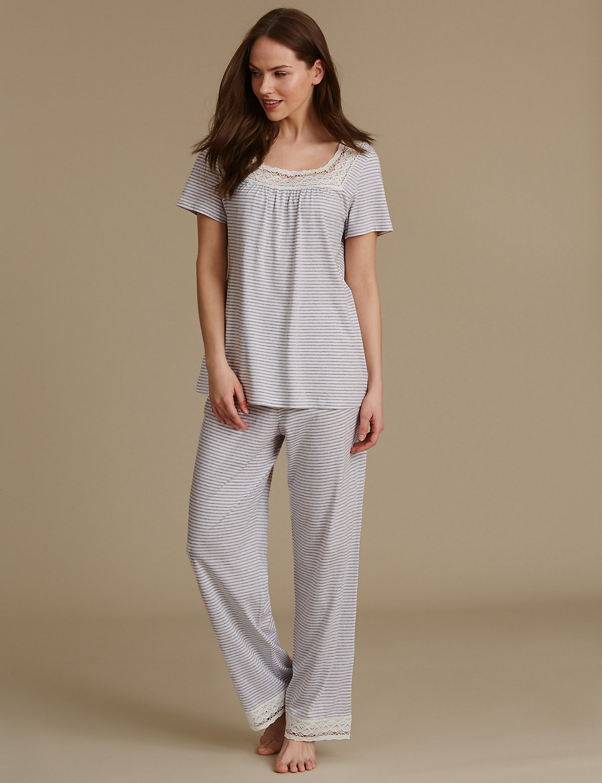 M&S Collection Modal Blend Crochet Trim Striped Pyjamas