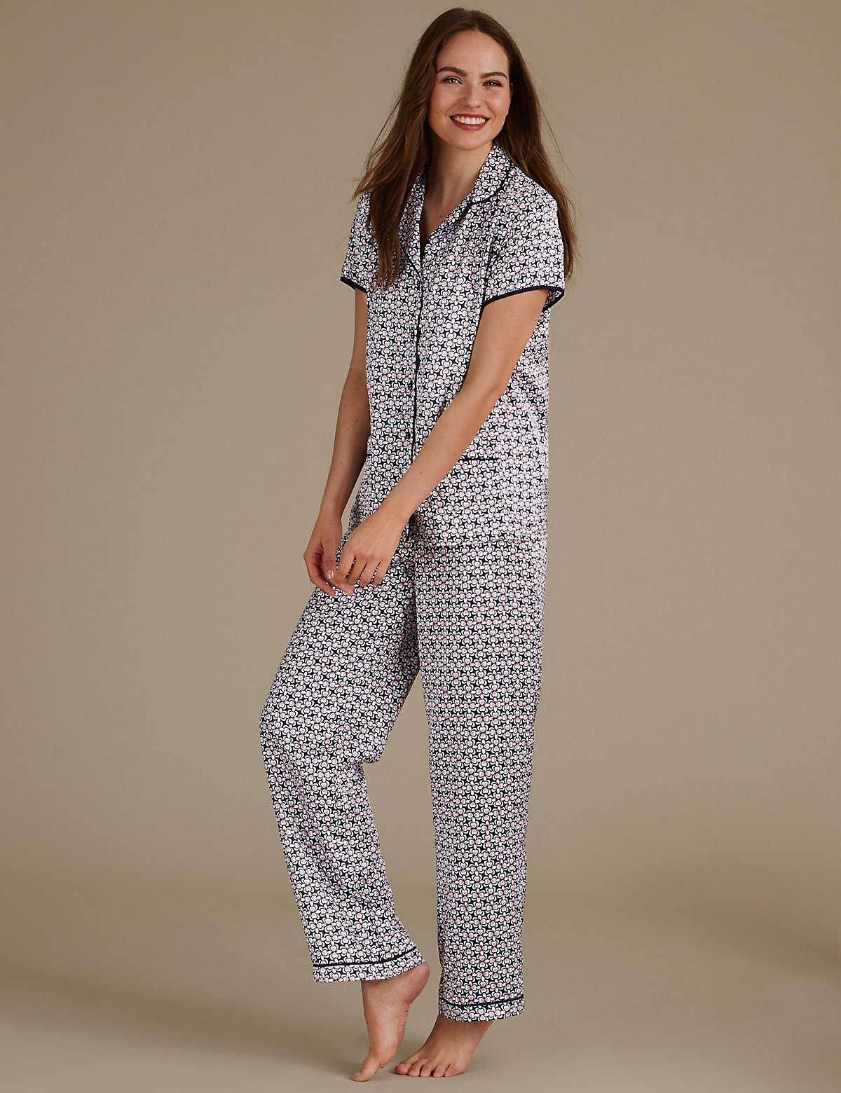 M&S Collection Geometric Print Revere Collar Pyjama Set