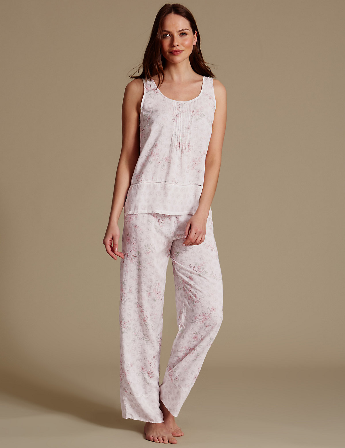 M&S Collection Pure Modal Printed Sleeveless Pyjama Set