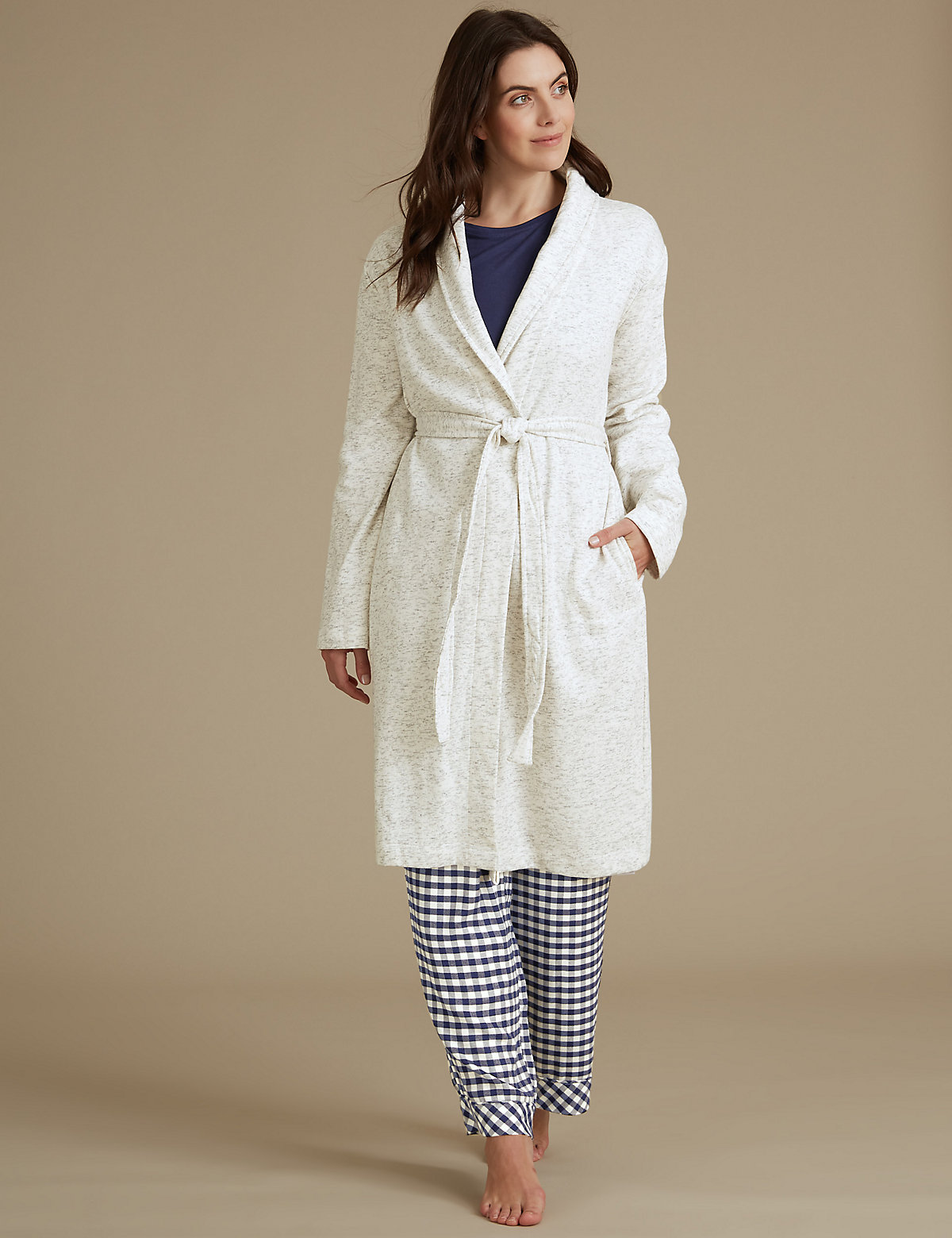 Ms Collection Pure Cotton Textured Dressing Gown Compare Bluewater Hanger Marksspencer Slim