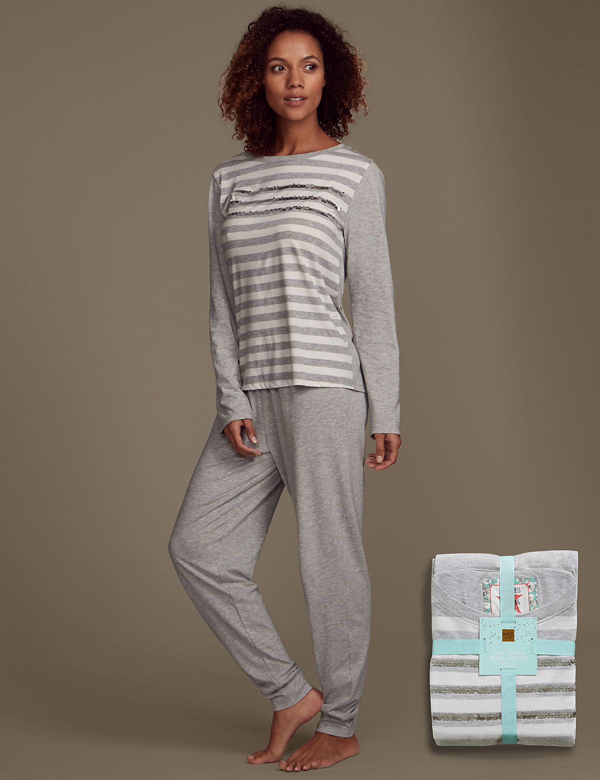 Cotton Rich Soft Touch Sequin Striped Pyjamas Grey 1618
