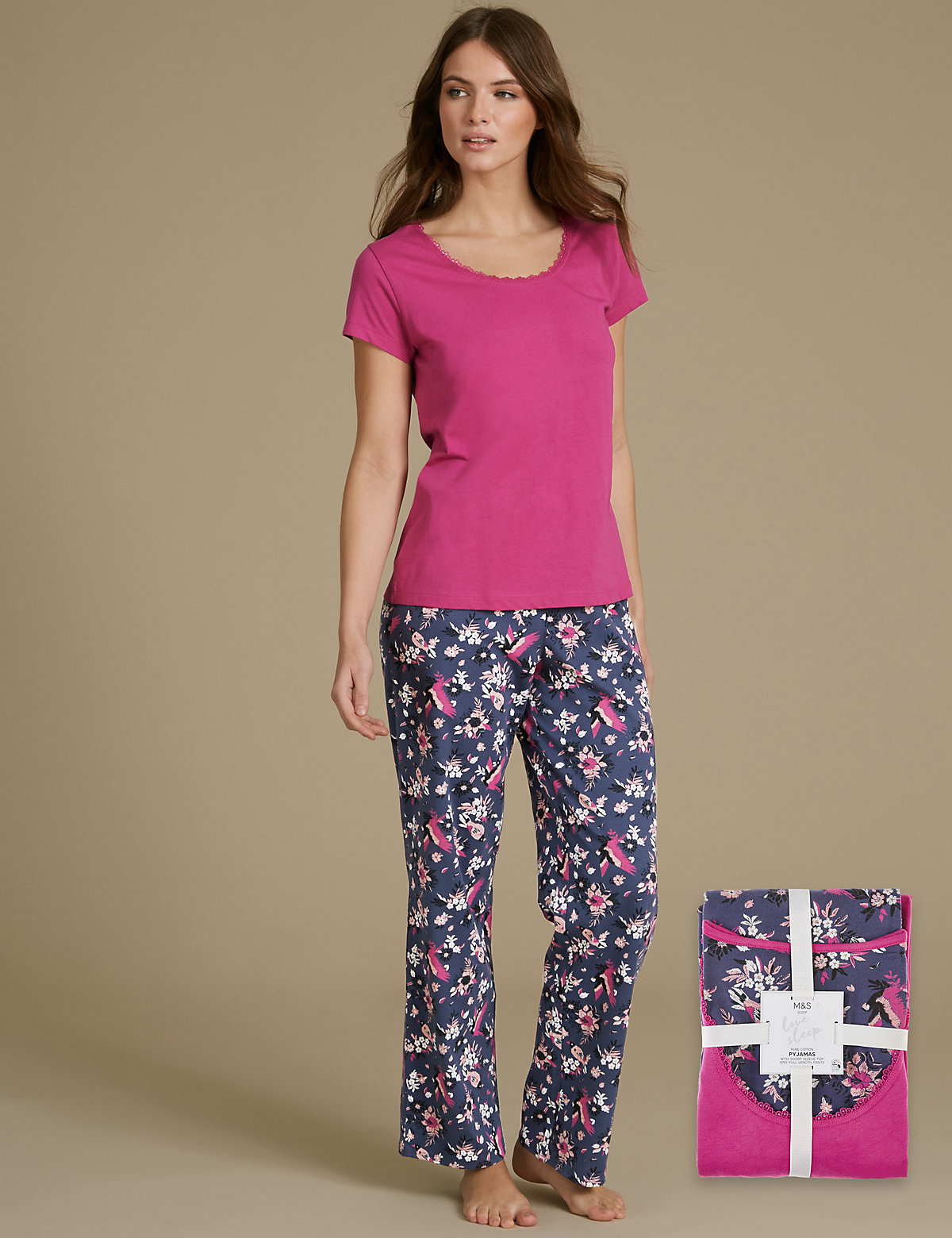M&S Collection Pure Cotton Printed Short Sleeve Pyjamas