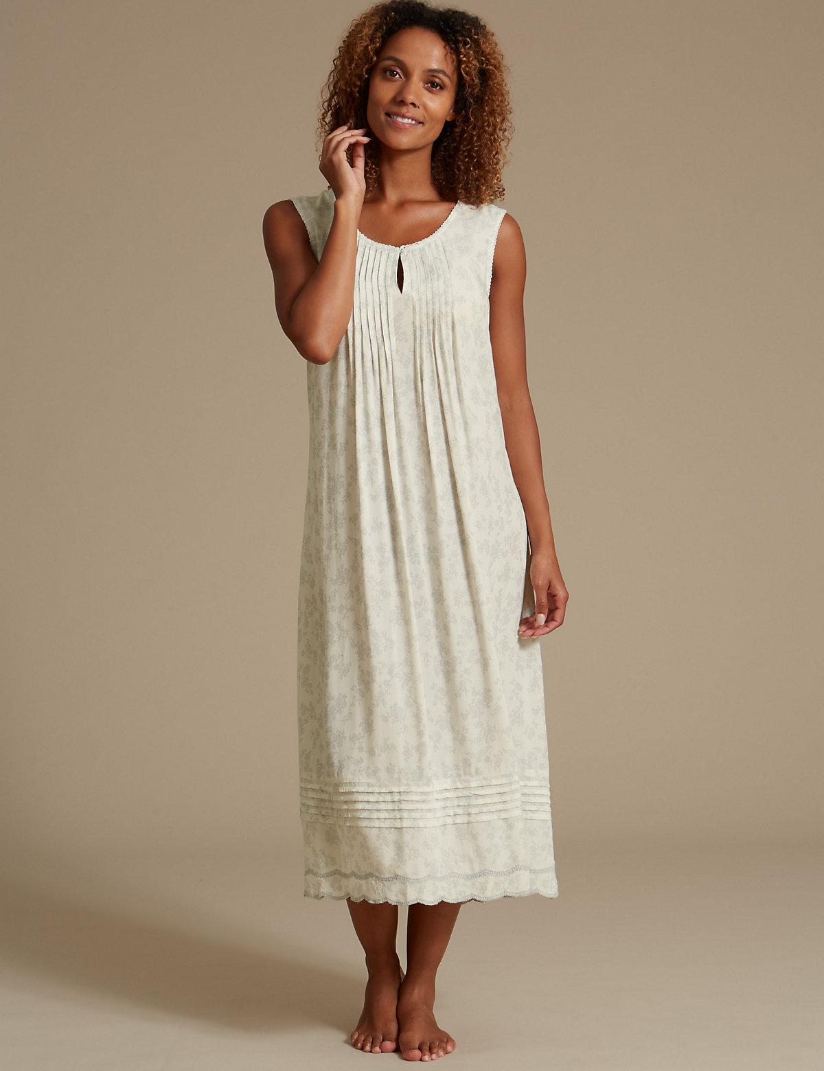 M&s Collection Rayon Print Long Nightdress