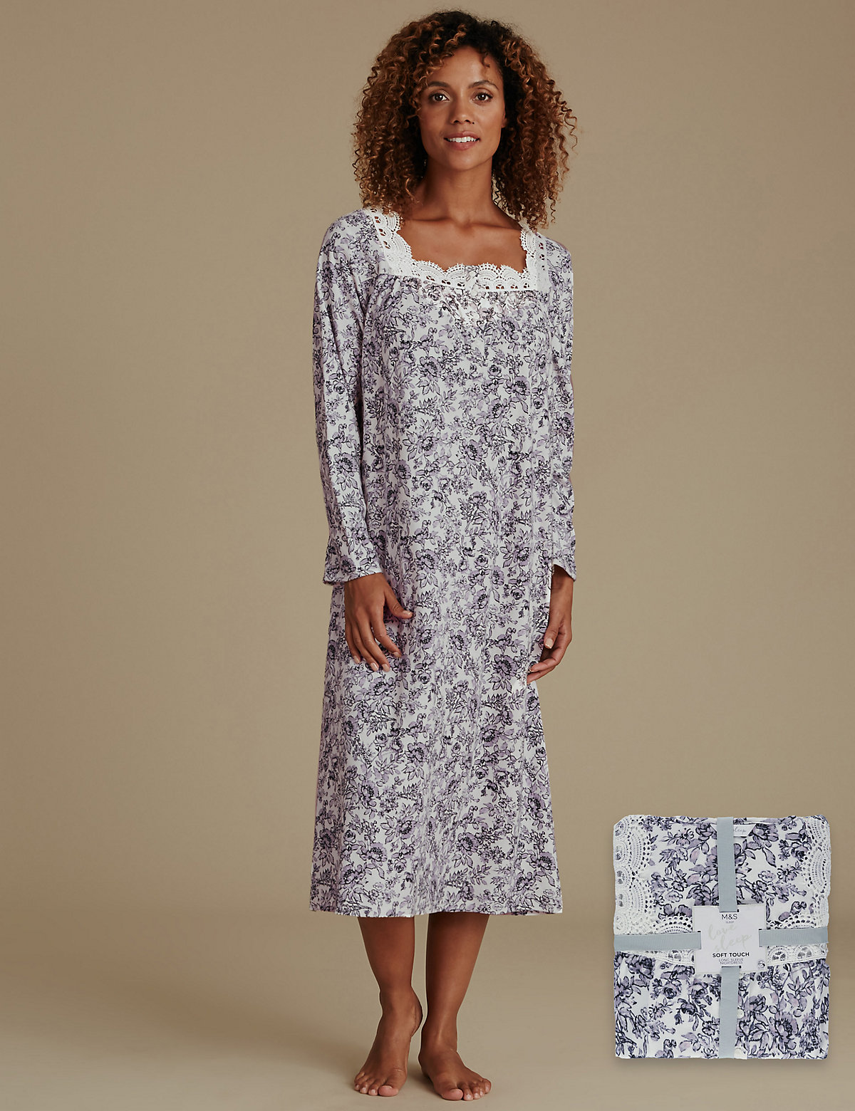 M&s Collection Pure Cotton Floral Print Nightdress