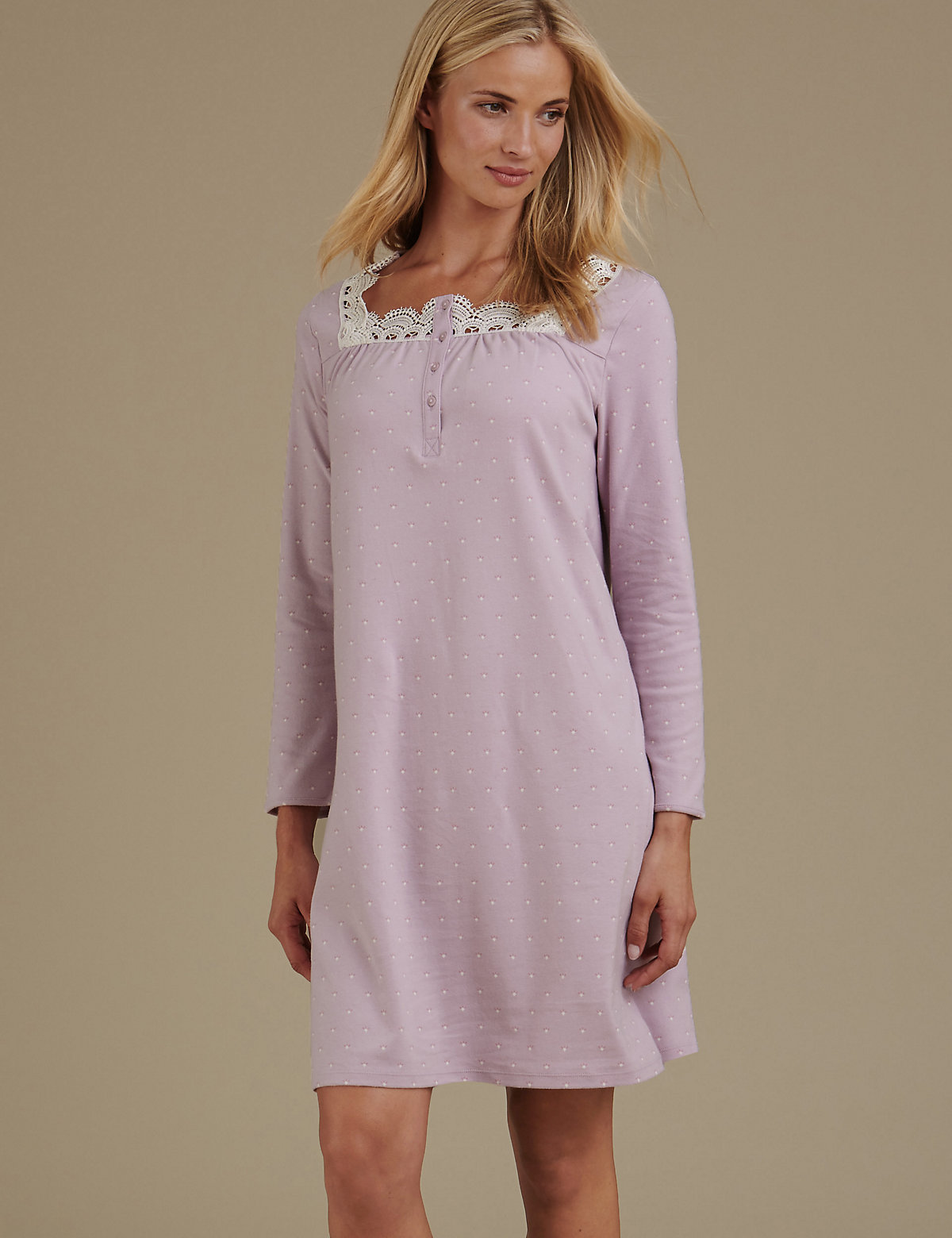 M&s Collection Pure Cotton Crochet Trim Jersey Long Nightdress