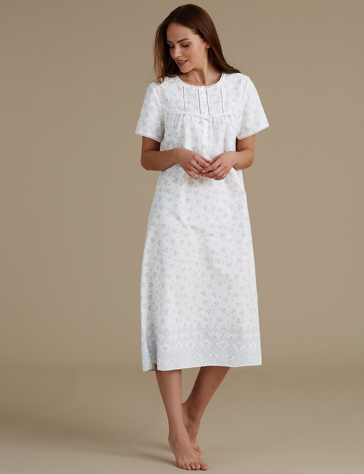 M&S Collection Cotton Blend Floral Print Nightdress