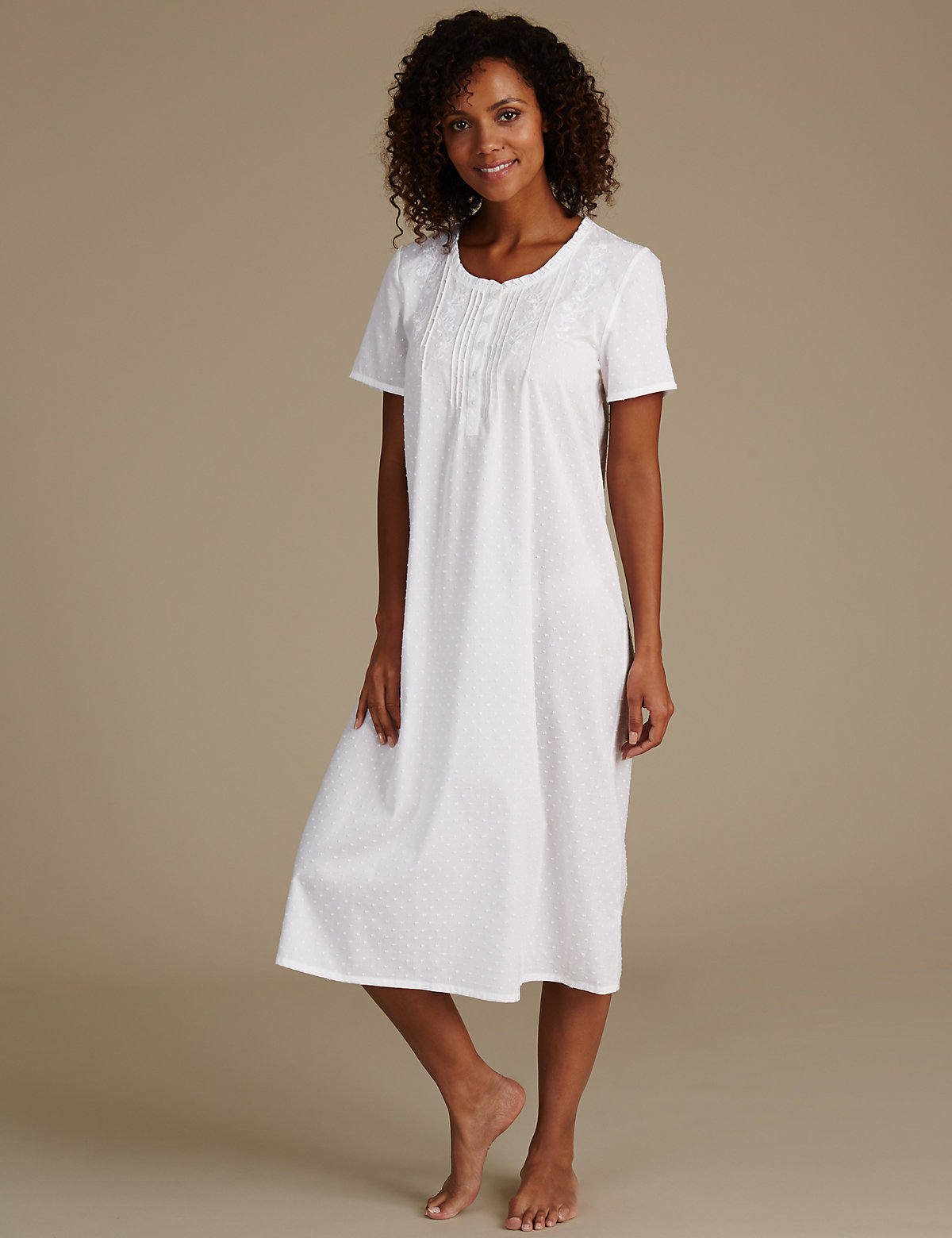 MS Collection Embroidered Dobby Short Sleeve Nightdress Marks and Spencer P60092223