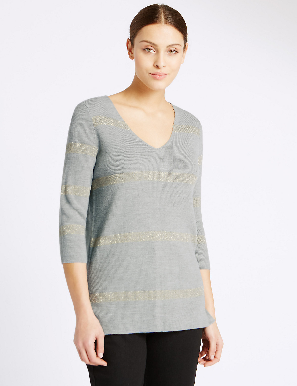 Per Una 3/4 Sleeve V-Neck Jumper