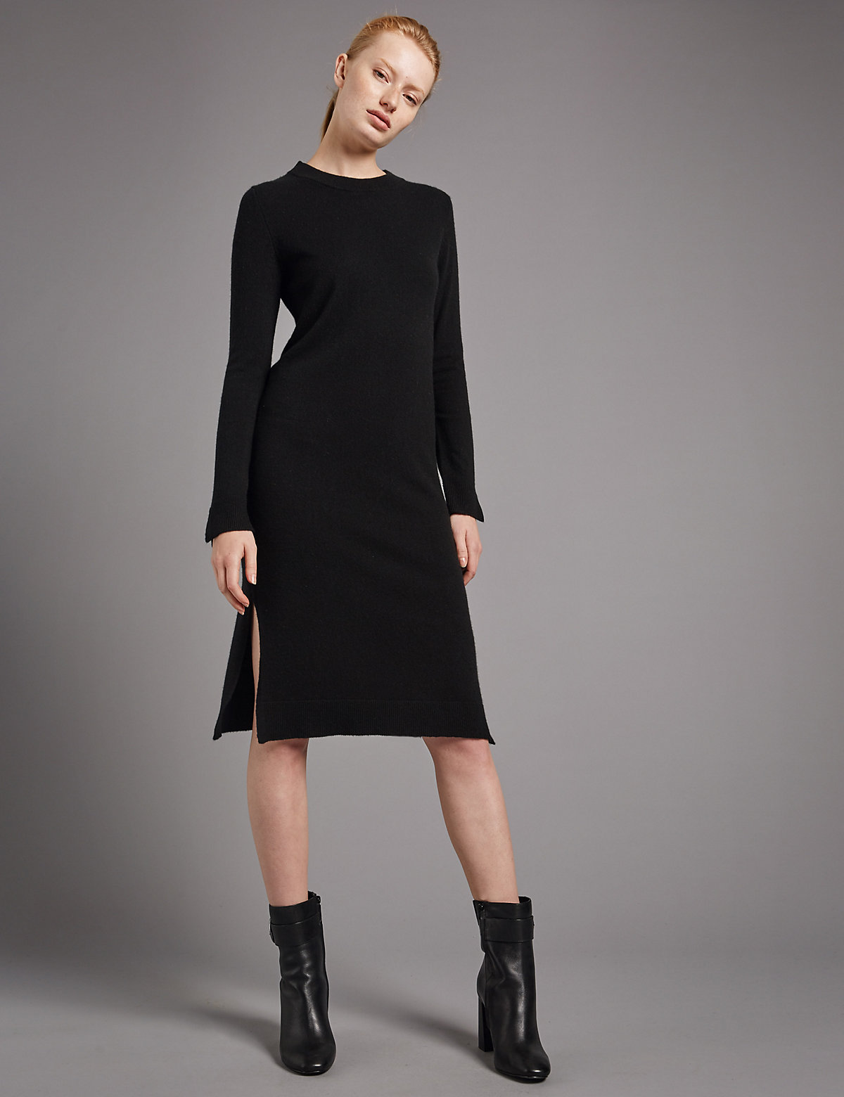 Autograph Pure Cashmere Long Sleeve Dress
