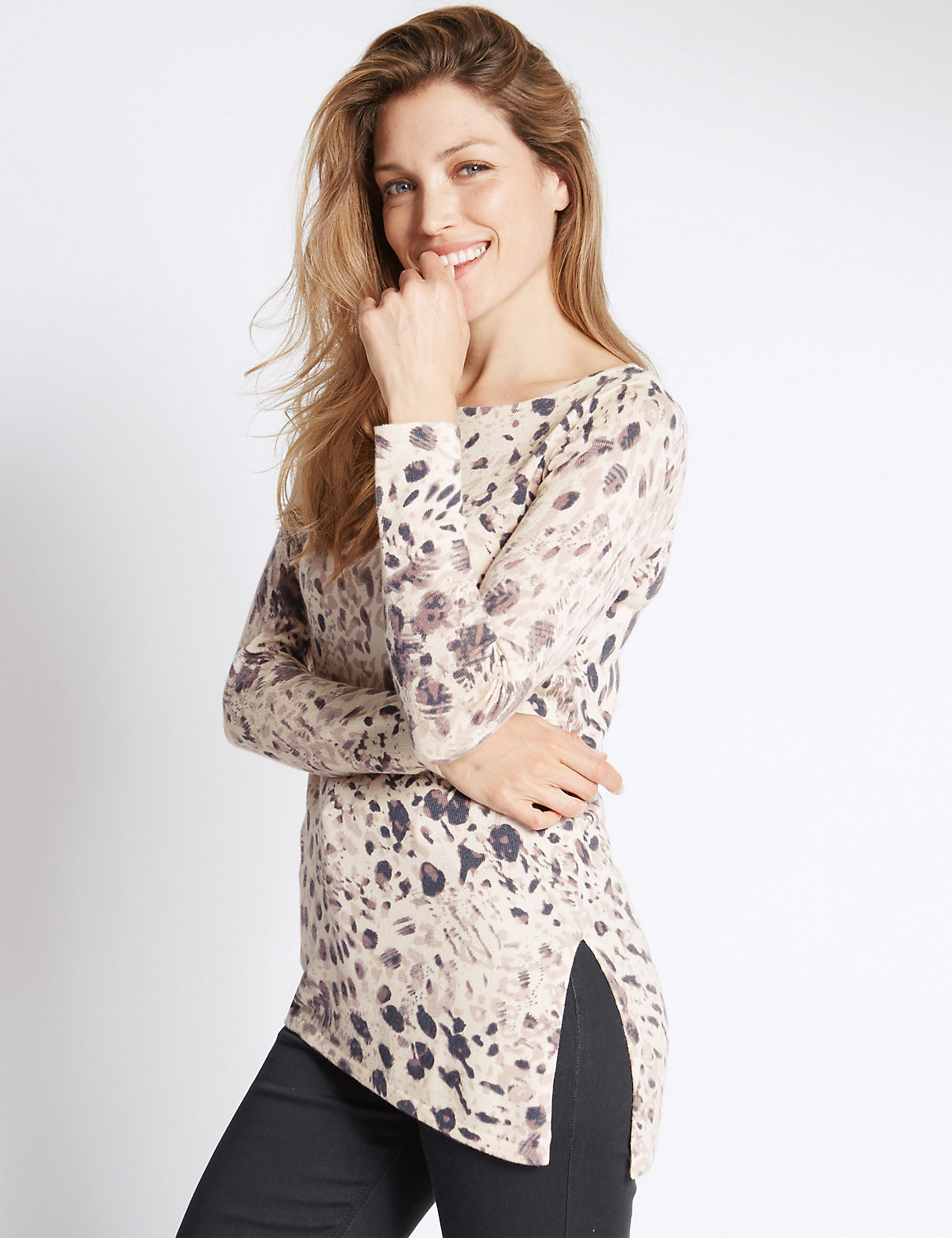 Per Una Animal Print Slash Neck 3/4 Sleeve Jumper