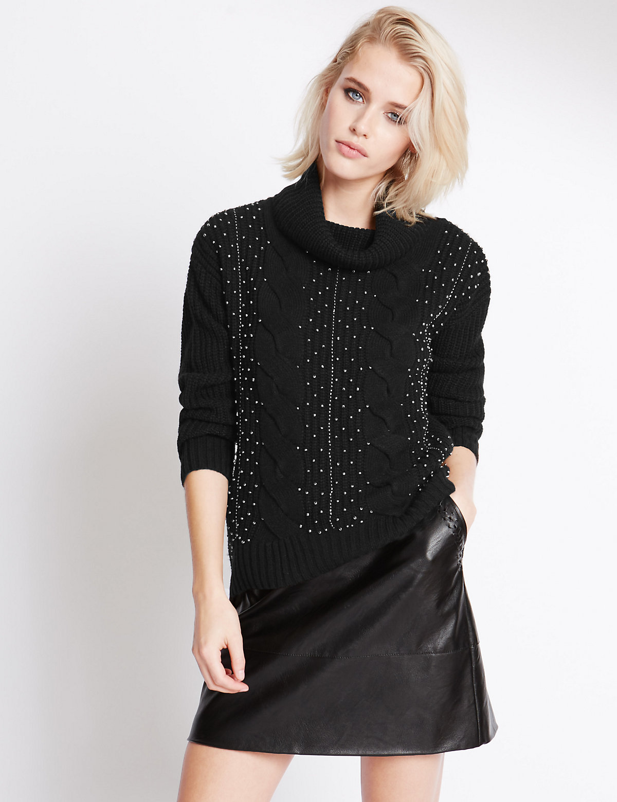Indigo Collection Beaded Polo Neck Jumper