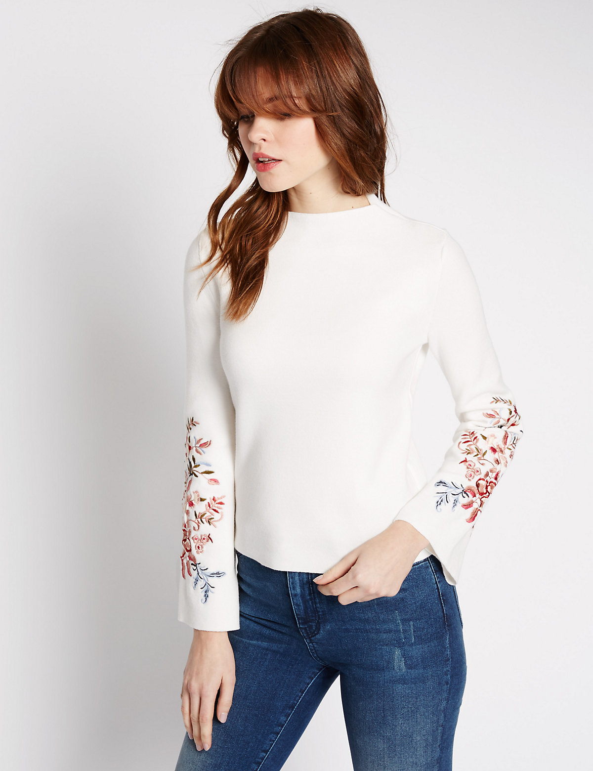 Limited Edition Pure Cotton Embroidered Funnel Neck Jumper