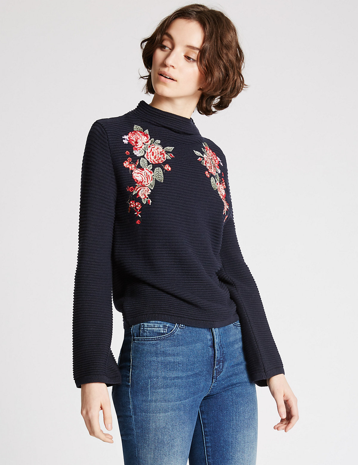 Limited Edition Cotton Blend Embroidered Funnel Neck Jumper
