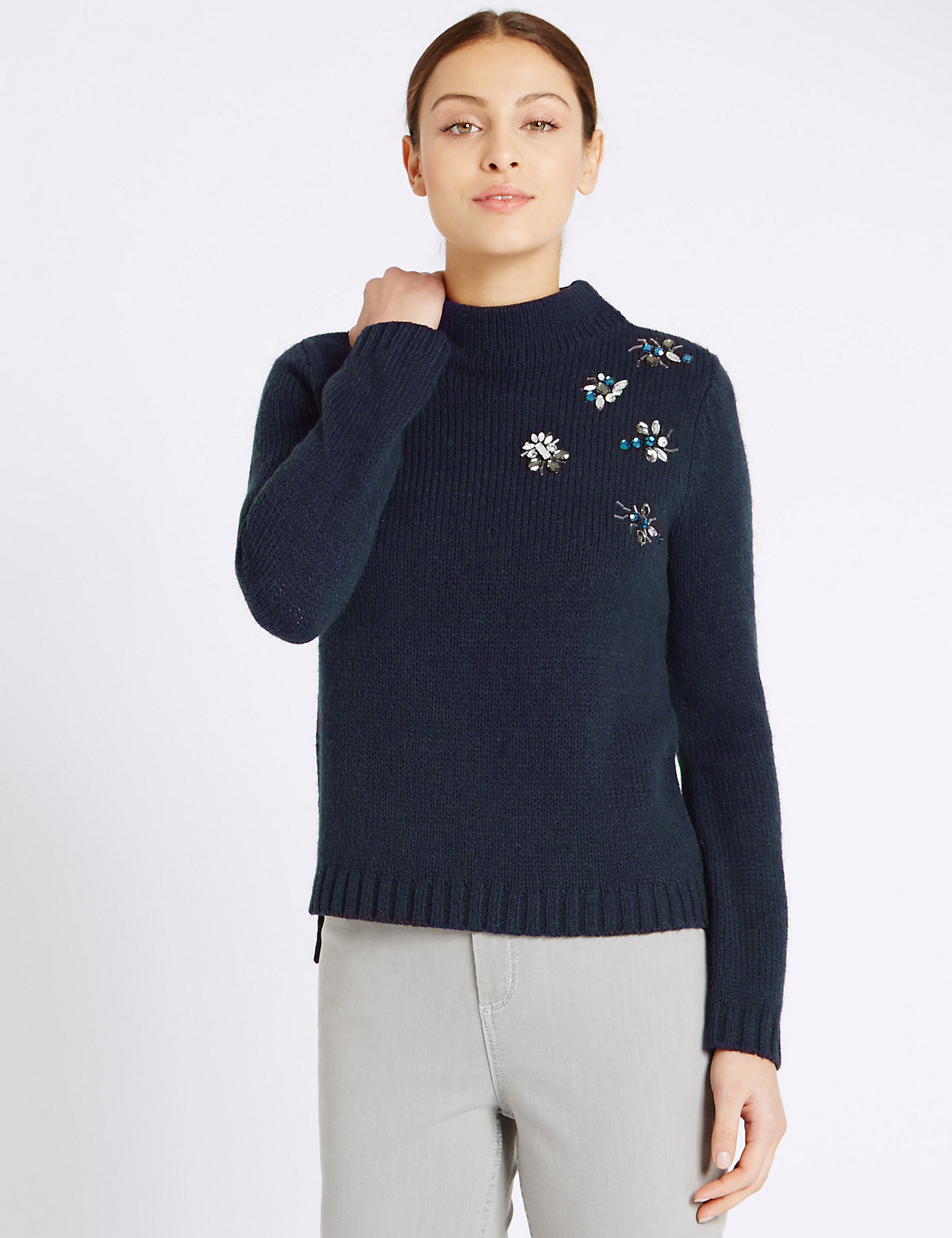 Per Una Beaded Bug Turtle Neck Jumper