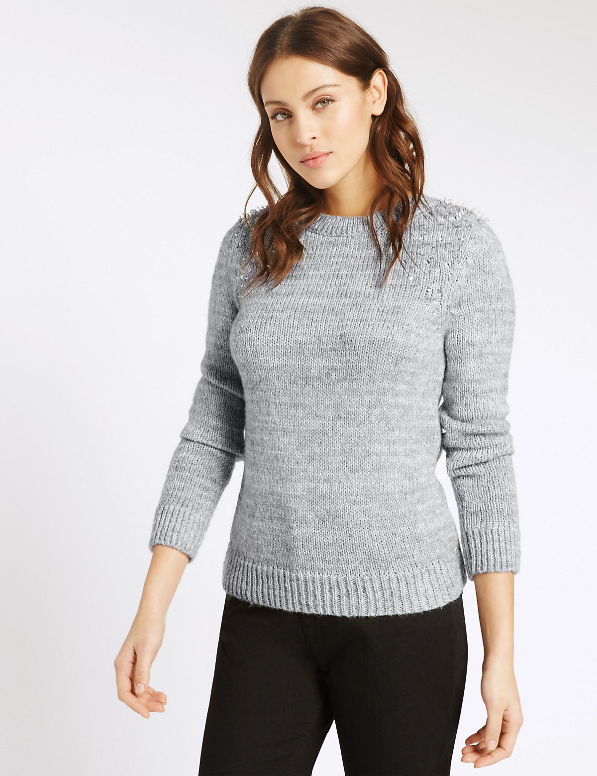 Per Una Beaded Crew Neck Jumper
