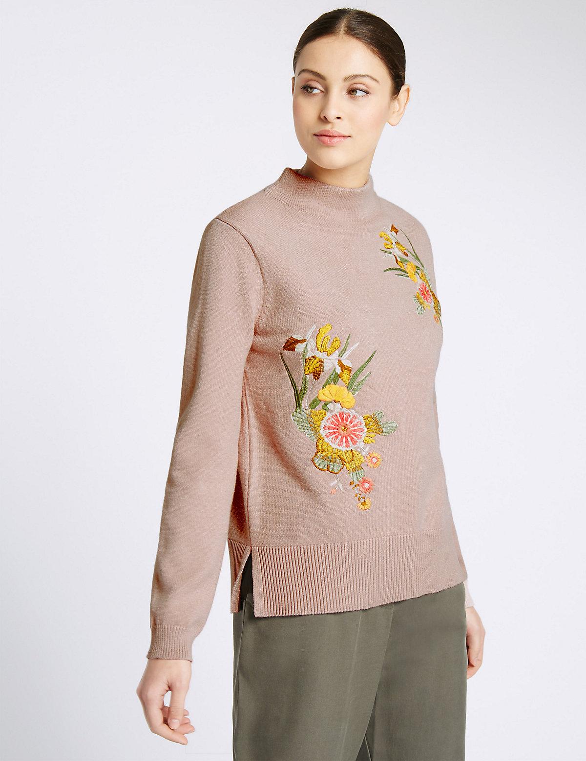 Per Una Embroidered Turtle Neck Jumper