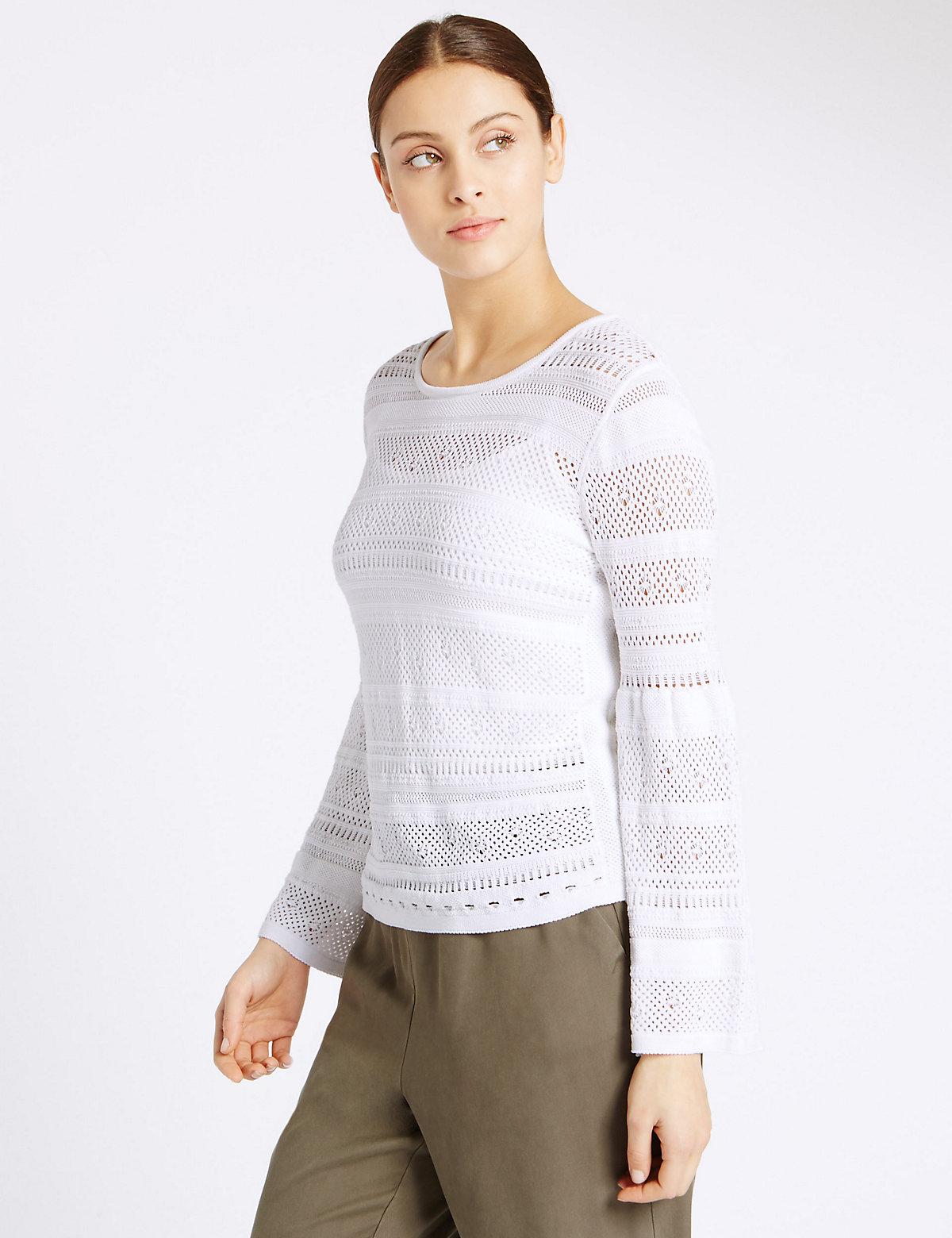 Per Una Lace Stitch Polo Neck Tunic Jumper