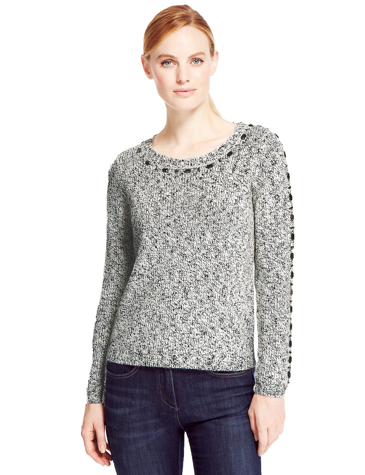 M&S Collection Embellished Tweed Jumper with Wool Image