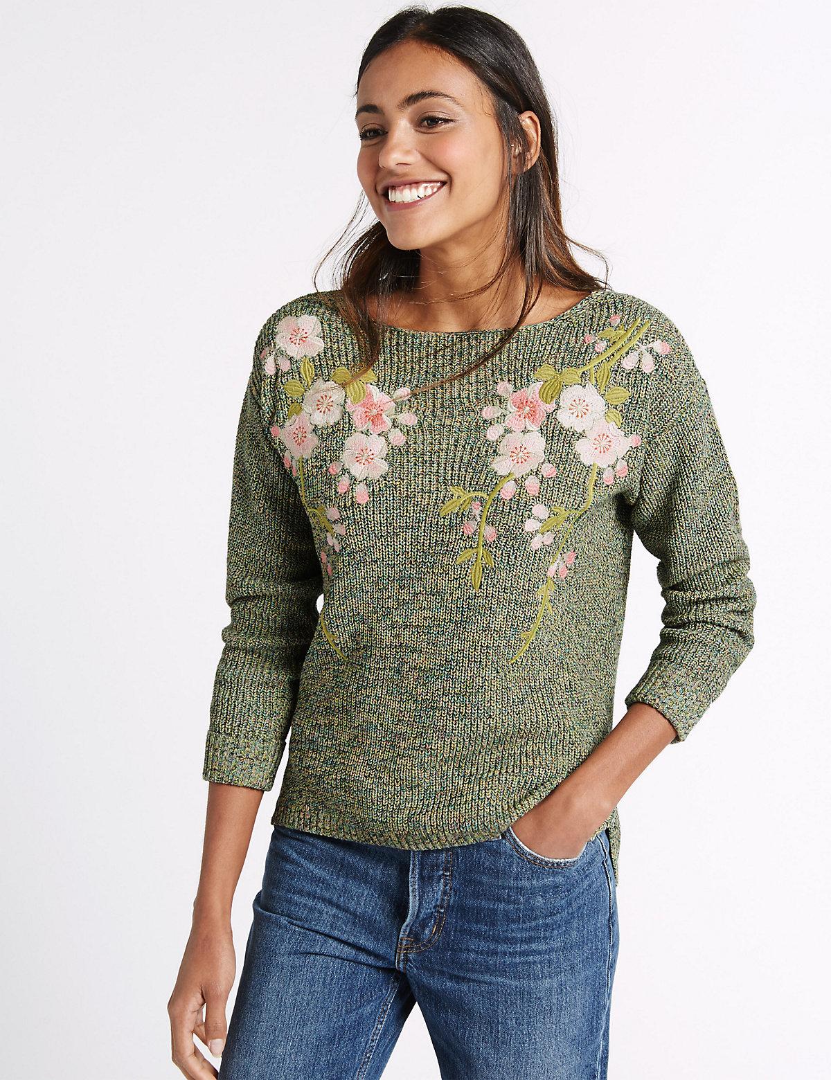 M&S Collection Pure Cotton Embroidered Slash Neck Jumper