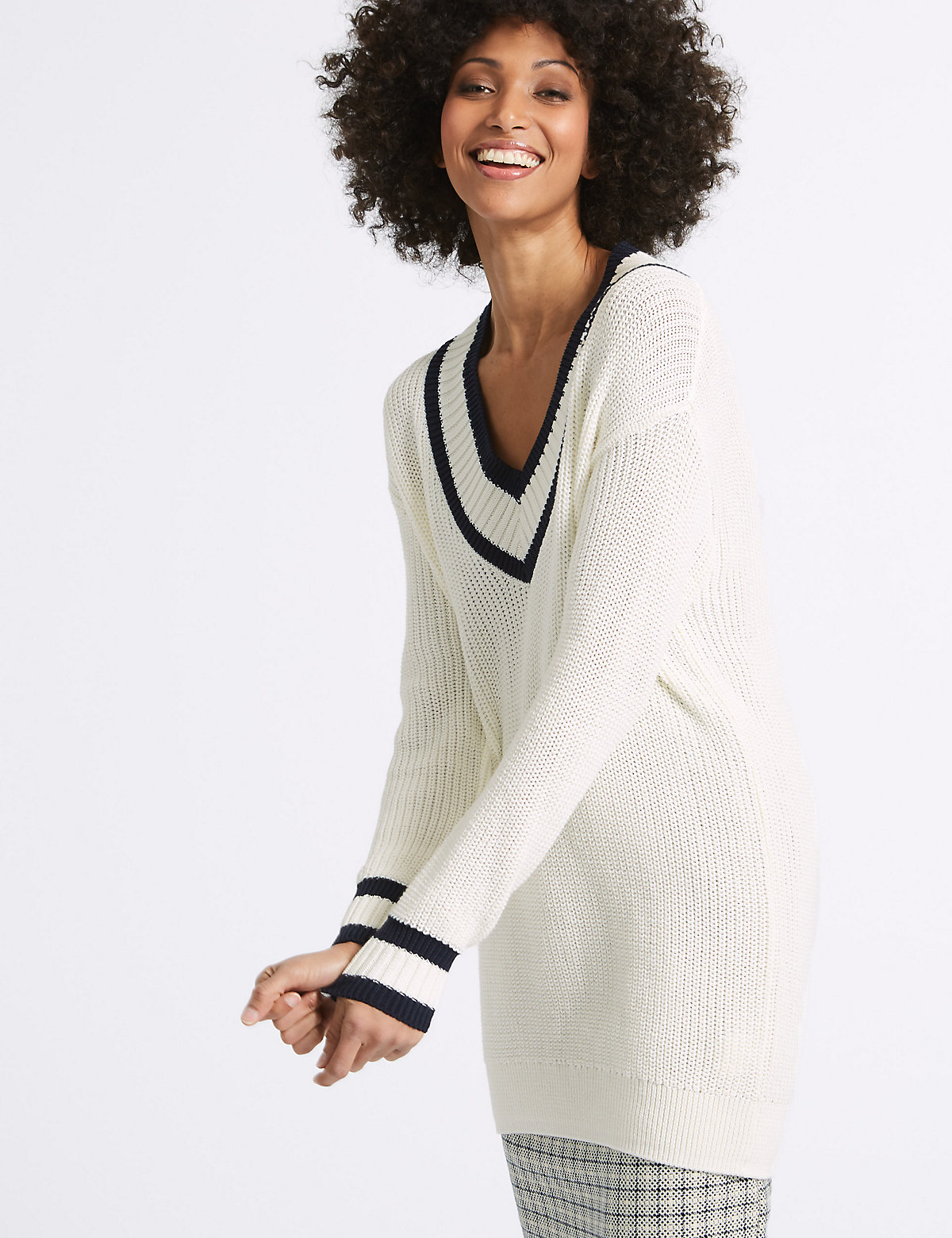 Image of M&S Collection Pure Cotton Textured V-Neck Jumper