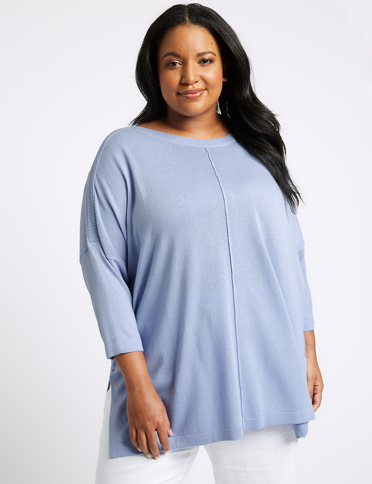 Image of M&S Collection CURVE Round Neck 3/4 Sleeve Jumper