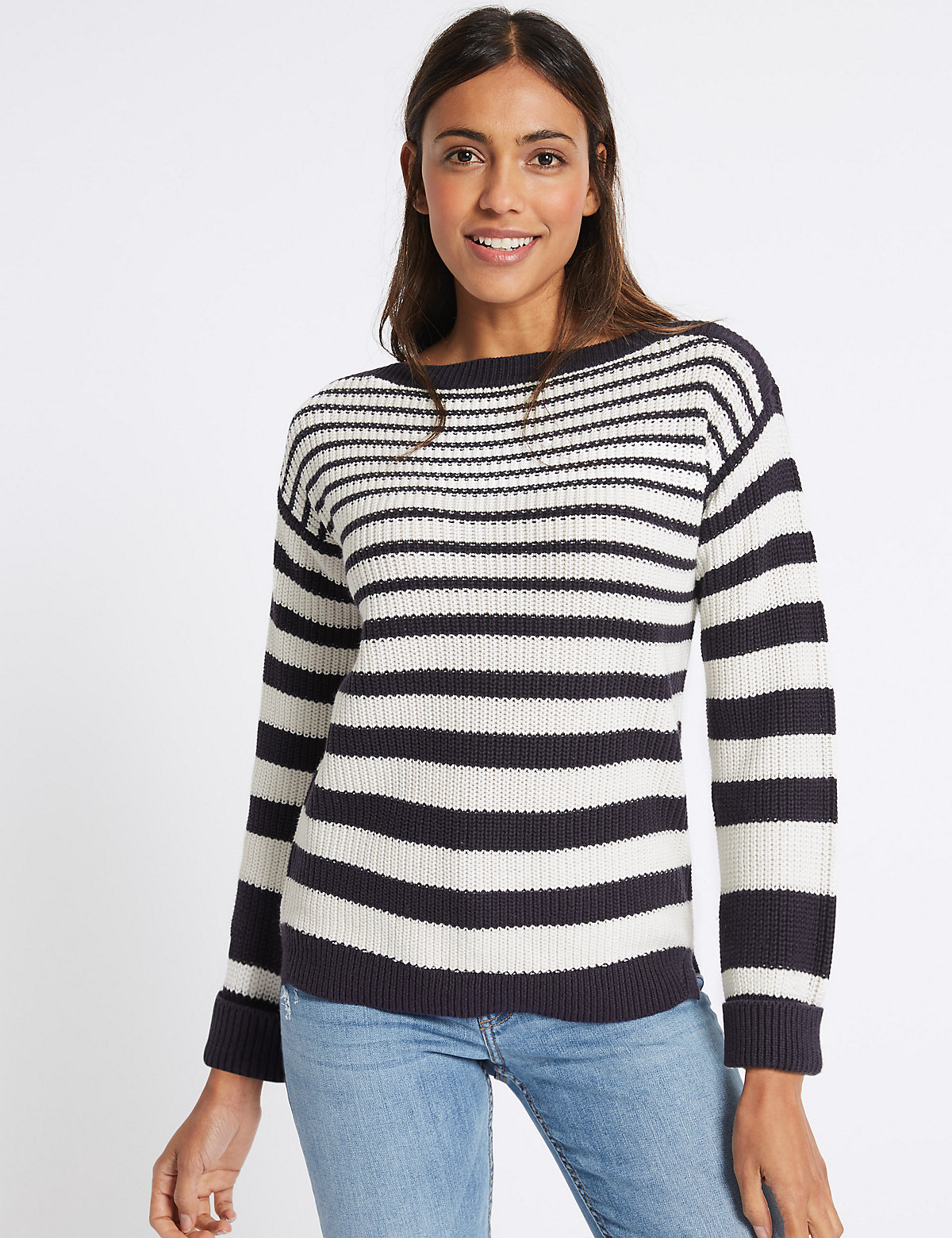 Image of M&S Collection Pure Cotton Striped Slash Neck Jumper