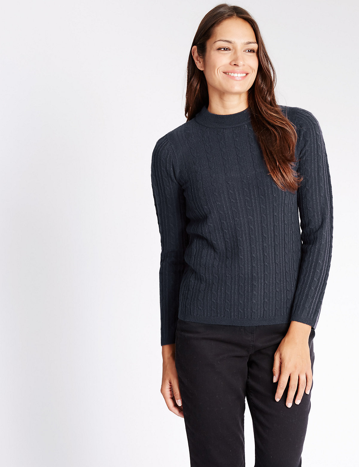 Classic Cable Knit Funnel Neck Jumper