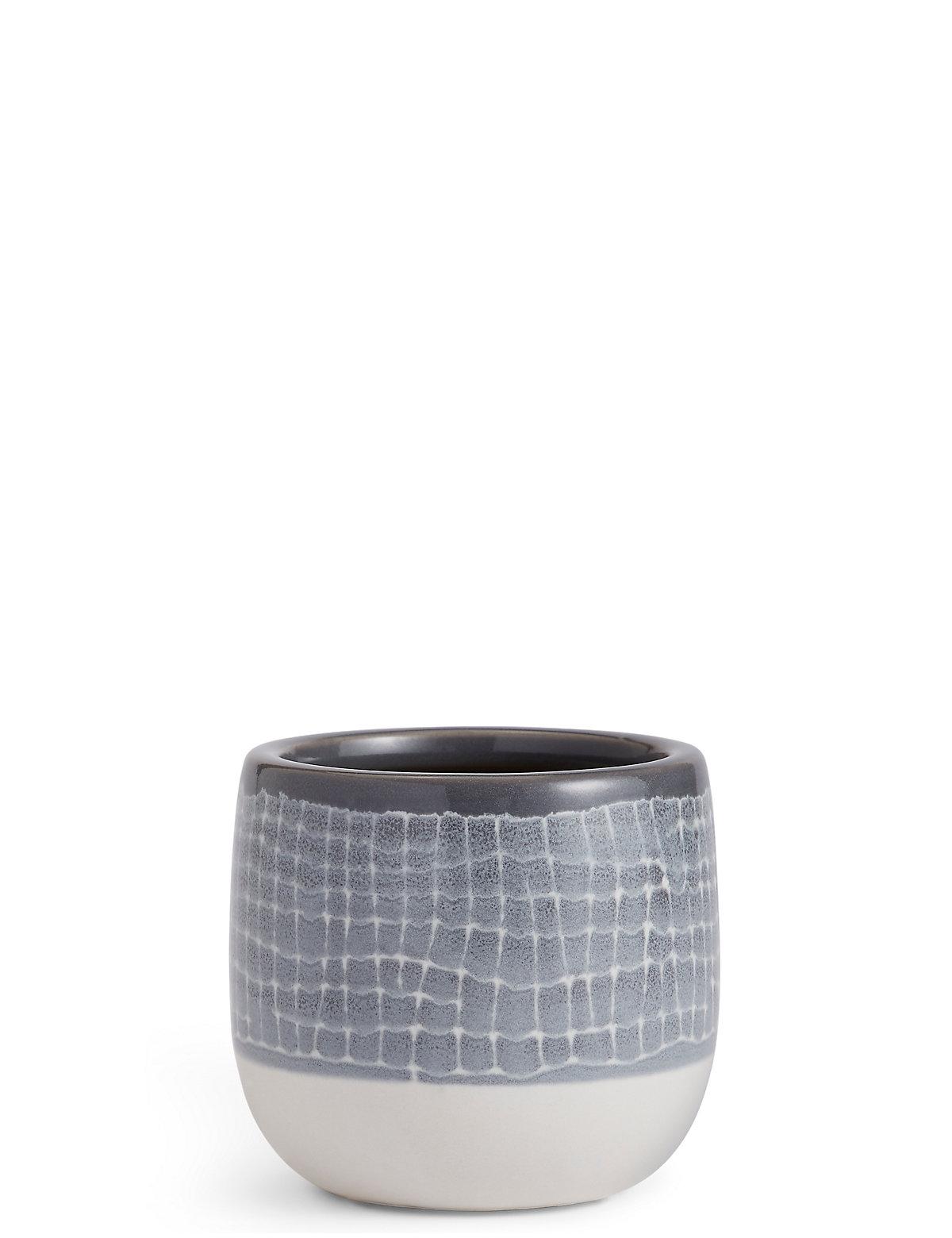 Image of 11cm Short Light Grey Glazed Grid