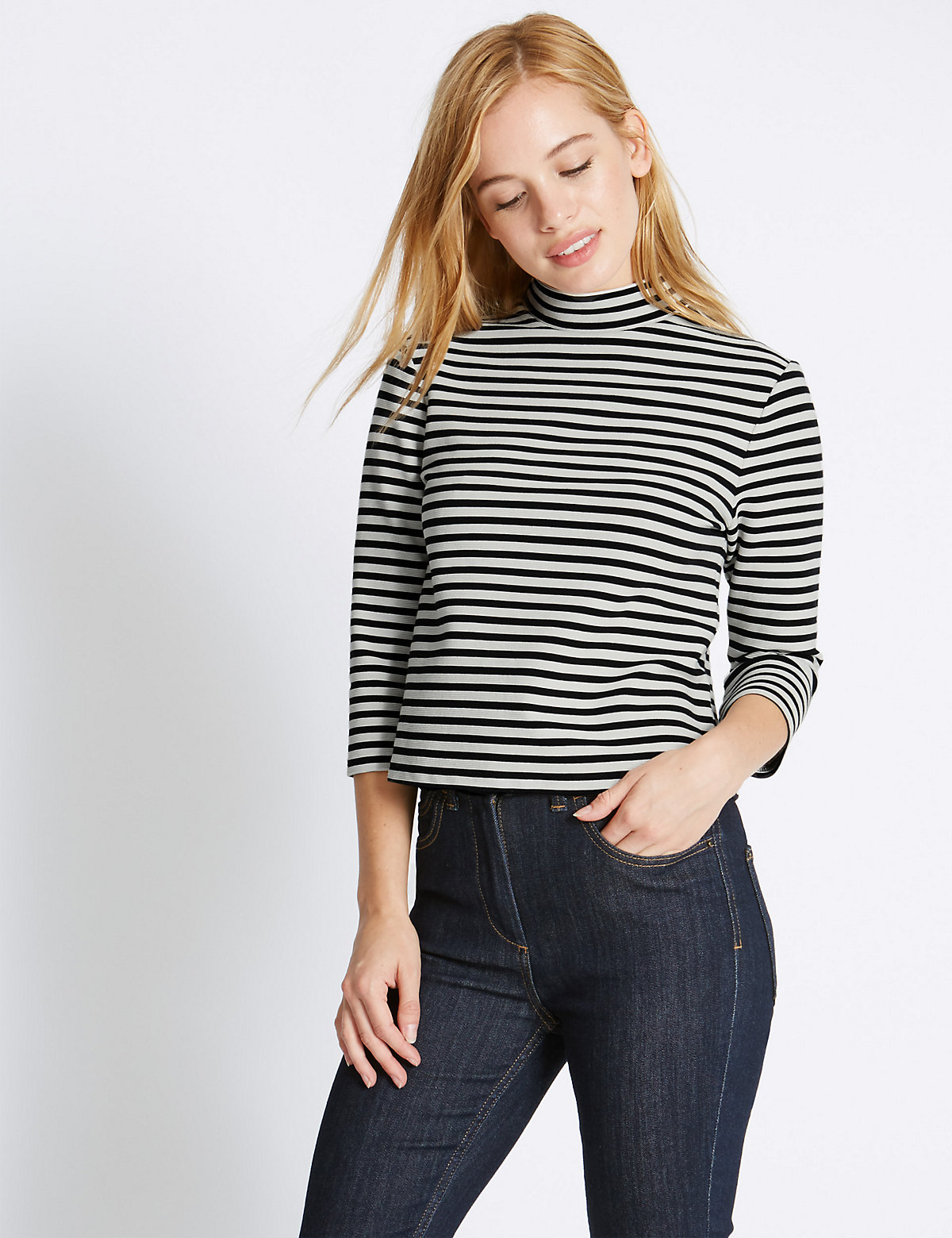 M&S Collection PETITE Striped Jersey Top