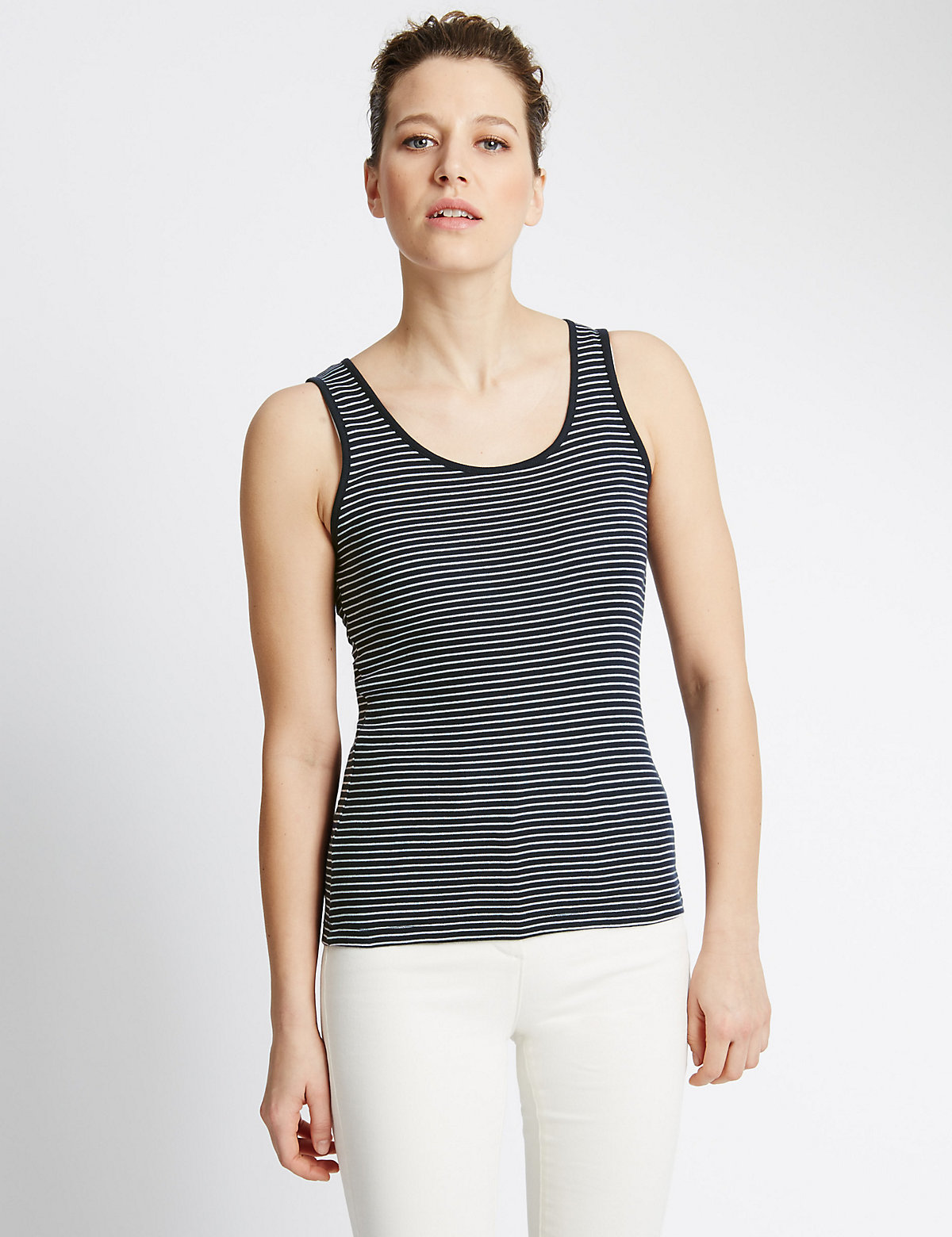 M&S Collection Pure Cotton Striped Vest Top