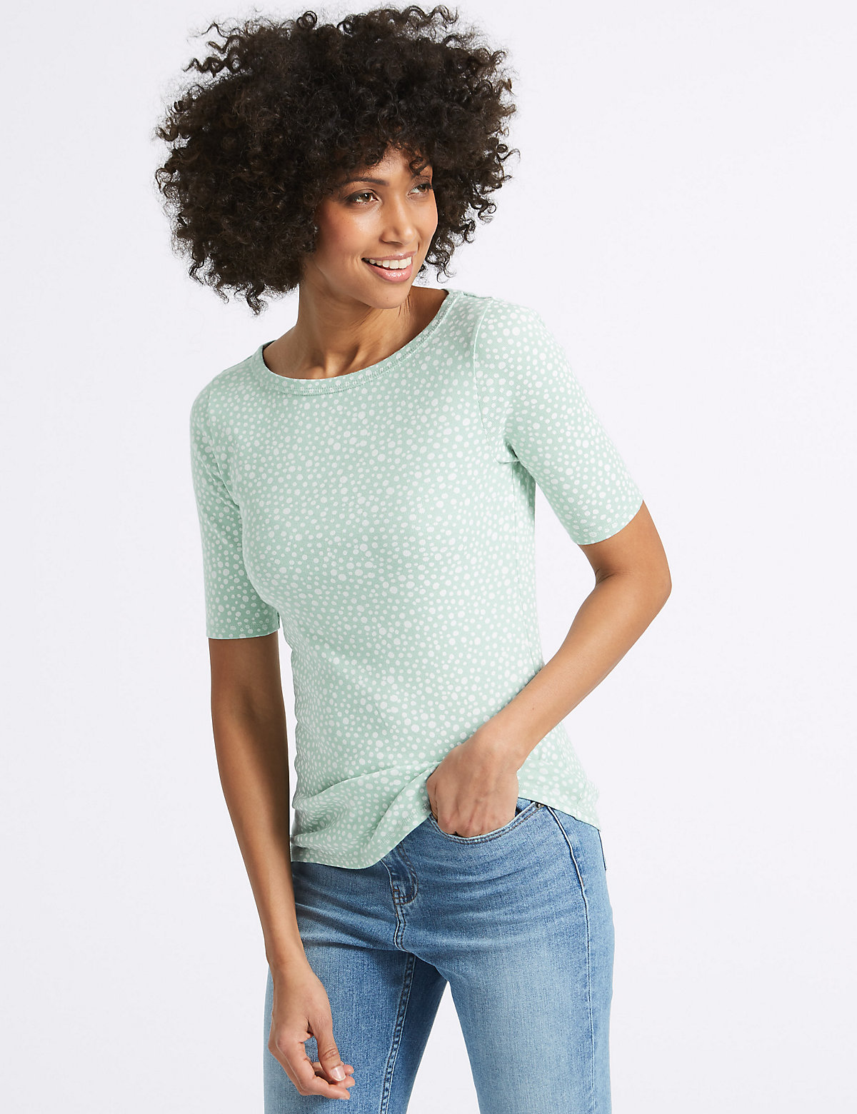 Image of M&S Collection Pure Cotton Spotted Slash Neck T-Shirt