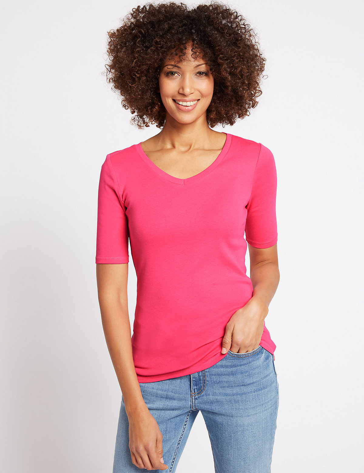 Image of M&S Collection Pure Cotton V-Neck Half Sleeve T-Shirt