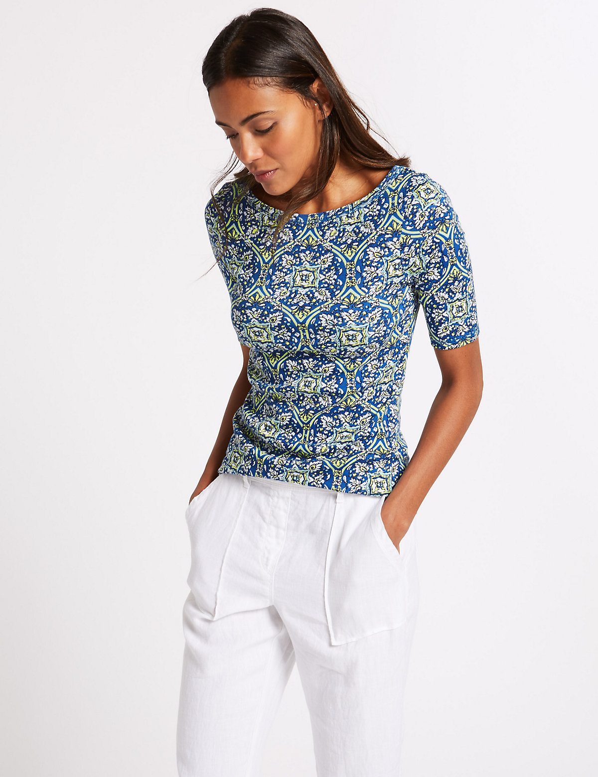 Image of M&S Collection Pure Cotton Printed Half Sleeve T-Shirt