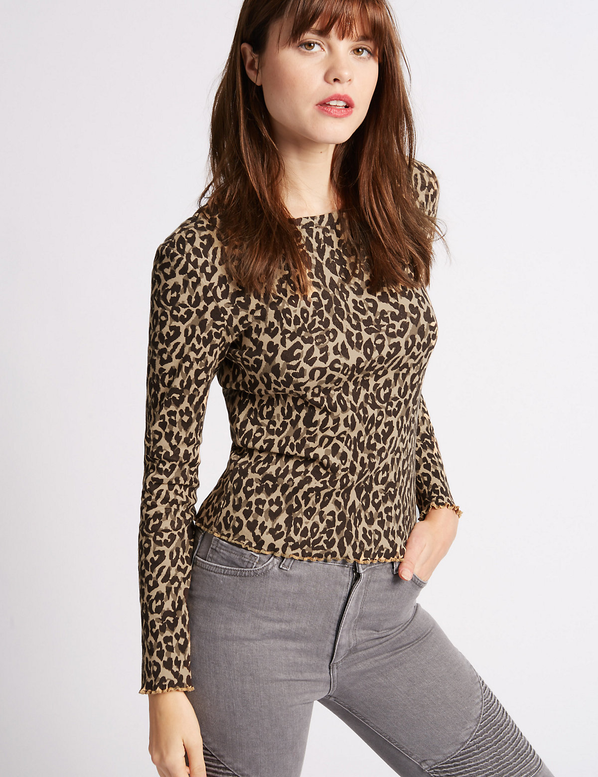 Limited Edition Animal Print Ribbed Long Sleeve T-Shirt
