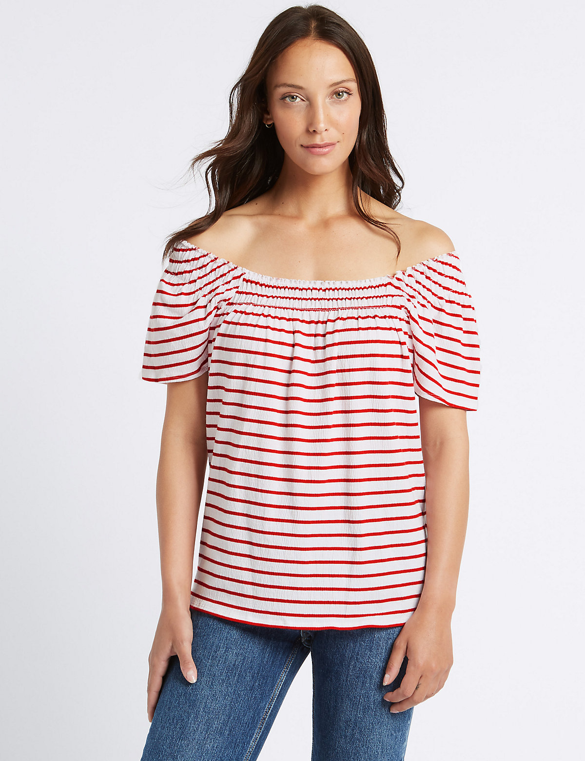 Image of M&S Collection Cotton Rich Striped Short Sleeve Bardot Top