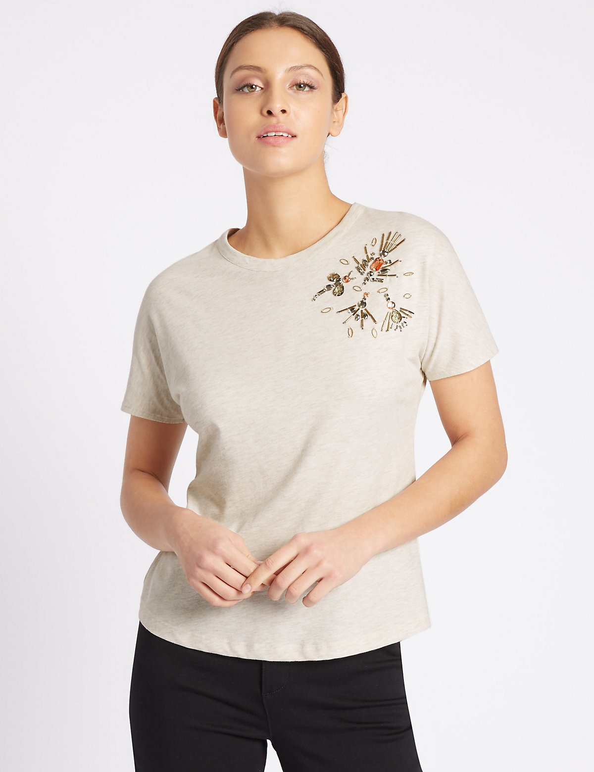 Per Una Cotton Rich Beaded Dragonfly T Shirt Marks and Spencer P22498774