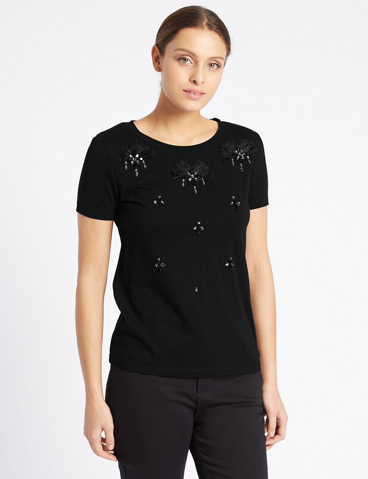 Per Una Pure Cotton Embellished T-Shirt.