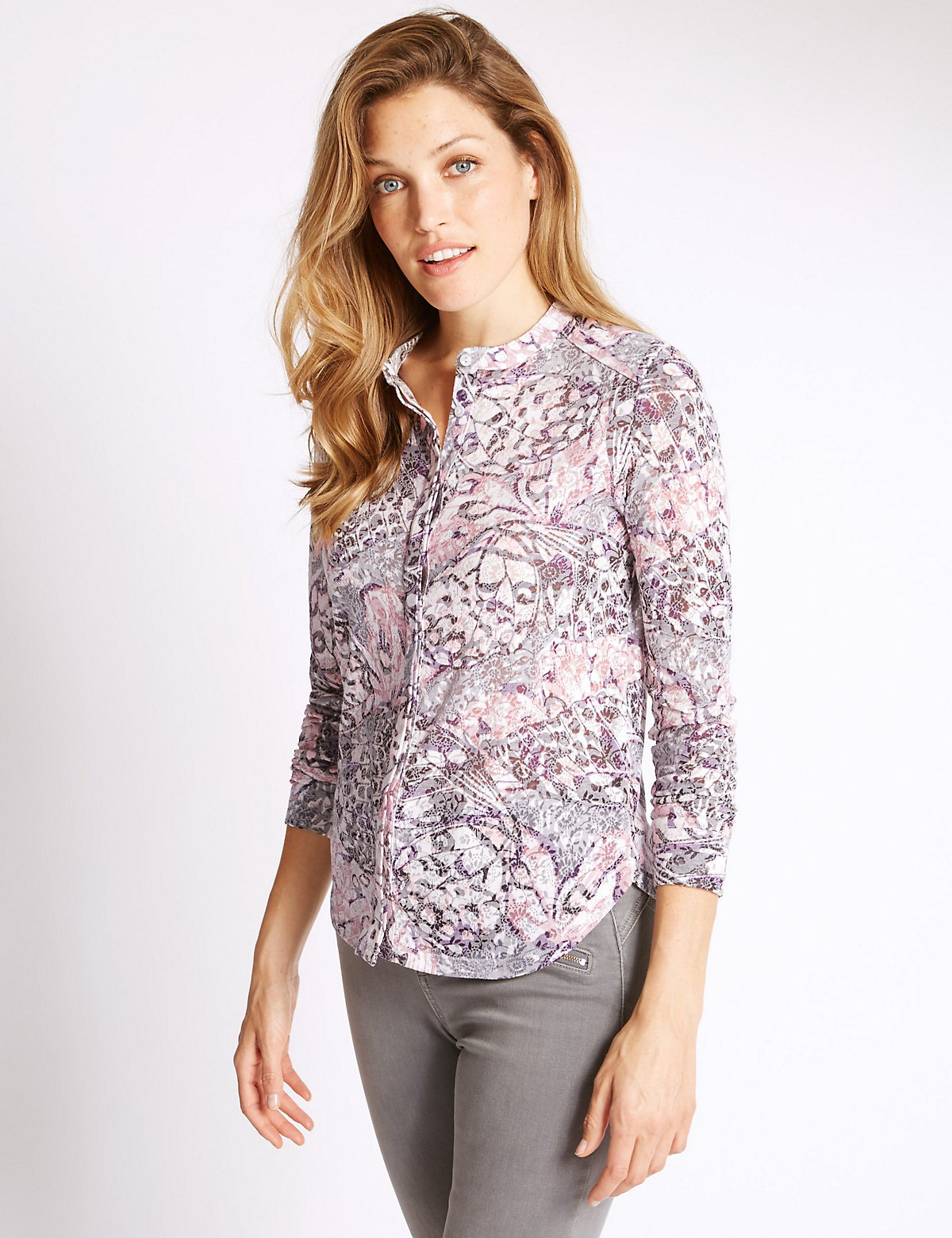 Per Una Long Sleeve Butterfly Print Blouse