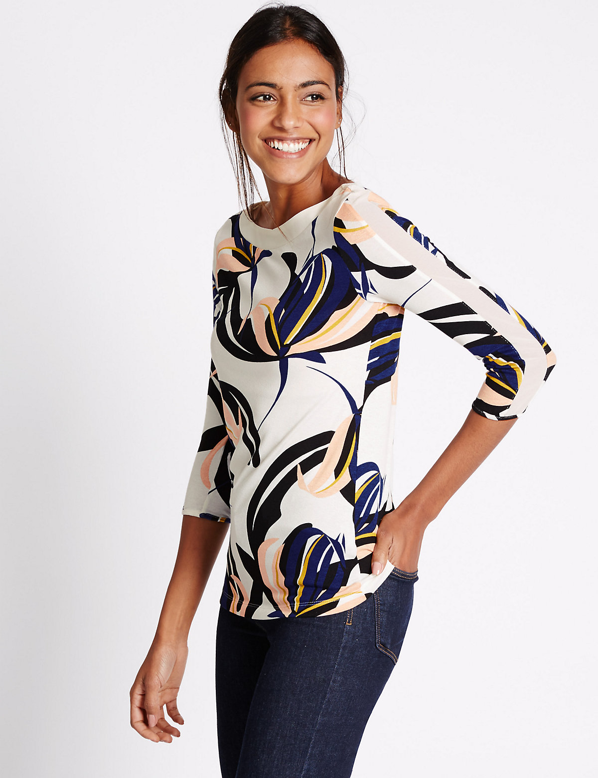 M&S Collection Floral Print 3/4 Sleeve Jersey Top